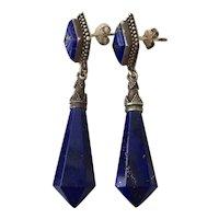 Vintage Natural Lapis Lazuli Sterling Silver Dangle Drop Earrings Deco Style