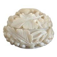 Vintage White Soapstone Trinket Jewellery Box Leaf Berries Hand Carved