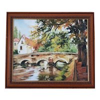Vintage French River Landscape Scene Autumn Oil Acrylic Painting Framed