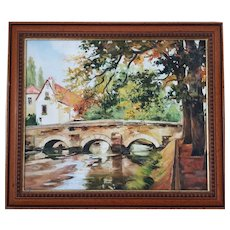 Vintage French River Landscape Scene Autumn Oil Painting Framed
