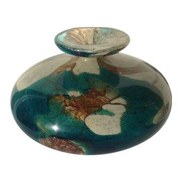 Vintage Mdina Tiger Glass Vase Turquoise Brown Yellow Sand Multi Stunning