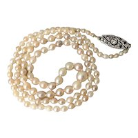 Vintage French 18k Gold Diamond Cultured Pearl Necklace 18 inch