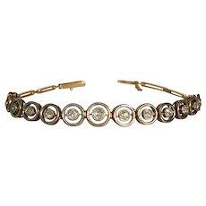Vintage Art Deco 18k Gold Platinum Diamond Line Bracelet