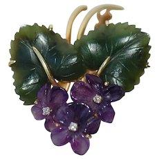 Vintage Jade Amethyst Diamond Violets Bouquet Brooch