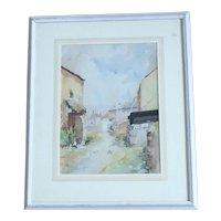 Vintage French Street Scene Watercolour Framed Signed