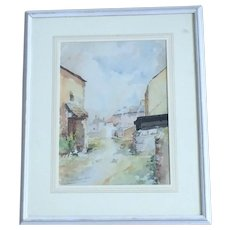 Vintage French Street Scene Watercolour Framed Signed
