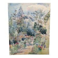 Antique original watercolour English landscape garden scene