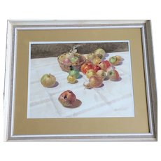 Bowl of Apples Still Life Original Watercolour Framed
