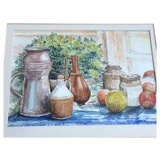 Modern Still Life British Artist Original Watercolour Framed