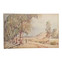 Vintage Nils Andersen Watercolour Board South African Gum Trees Landscape Wild Painting
