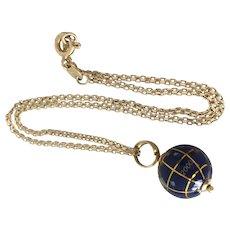 "World at your feet 18k Gold Anklet Chain Gem World Globe Charm 11"""