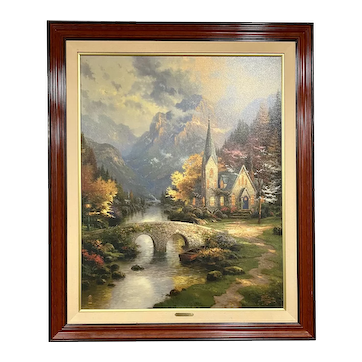 """""""The Mountain Chapel"""" by Thomas Kinkade, Limited Edition Gallery Print, 32""""x40"""""""