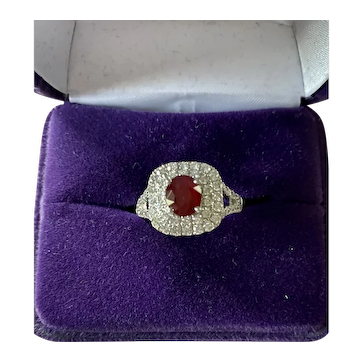 Gorgeous 1.34ct. Ruby with Diamond Accents, Set in 950 Platinum
