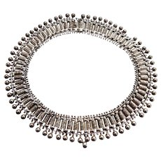 An Antique Victorian Necklace - Very Ornate Book Chain Collar with Bobbles in Sterling Silver