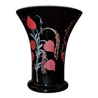 """Black glass vase """"Booms glass"""" red leaves decoration, unmarked, height 9.0"""" diam 5.9"""""""