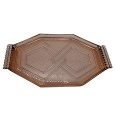 Unusual hexagonal 1930's pressed glass plate