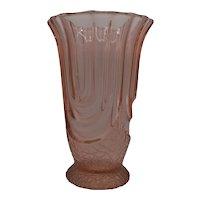 Tall pressed glass art deco pink vase.