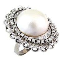 Vintage 14K White Gold Mabé Pearl Cocktail Ring