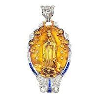 Stunning 18K Gold Diamond & Sapphire Art Deco Virgin Mary Pendant