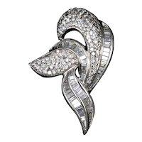Vintage 18K White Gold Diamond Abstract Pendant