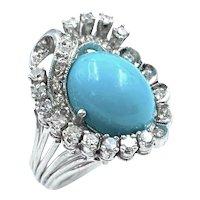 Vintage Palladium Diamond & Turquoise Cabochon Cocktail Ring