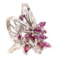 Charming Vintage Palladium Diamond & Pink Topaz Cocktail Ring