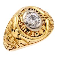 Vintage 14K Yellow Gold West Point Class of 1949 Diamond Ring