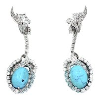 Vintage Palladium Diamond & Turquoise Cabochon Cocktail Dangle Earrings