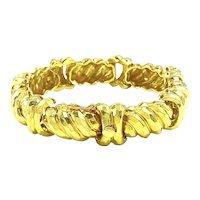 Impressive Vintage Henry Dunay 18K Yellow Gold Hammered Heavy Link Bracelet