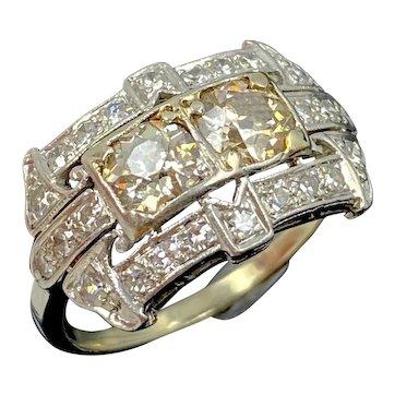 Art Deco 14K White Gold Diamond Engagement Ring