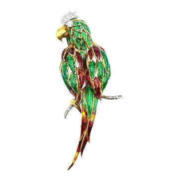 Gorgeous Vintage 18K Yellow Gold Diamond & Enamel Parrot Pin