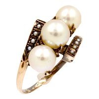 Antique Edwardian 10K rose gold pearl bypass ring