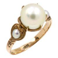 Antique Edwardian 10K Rose Gold Pearl Wedding Ring