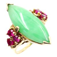 Vintage 10K Yellow Gold Navette Jade & Ruby Cocktail Ring