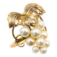 Gorgeous Vintage 14K Yellow Gold Pearl Grape Cluster Cocktail Ring
