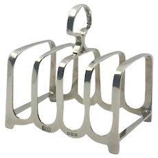 English Art deco solid Sterling silver toast rack 1928