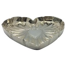 Victorian English Sterling Silver Heart Pin Dish 1894