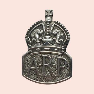 Sterling Silver Air Raid Precautions Badge 1937 London Militaria
