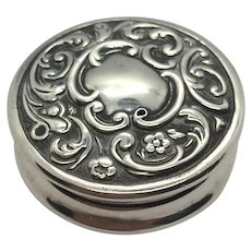 Victorian English Sterling Silver Pill Box 1898