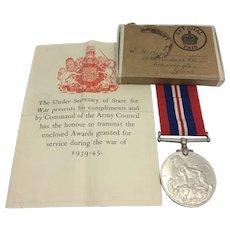 WW2 British Medal with Entitlement Slip & Transit Box