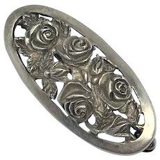 French Vintage Silver Art Nouveau Brooch
