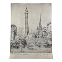 "Original Etching Don Swann/Limited Edition Signed & Numbered ""Mt Vernon Sq"" c281"