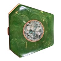 Vintage Styled By Schidkraut Powder Compact and Mirror Jade Looking Nuggets and Green Marble Cover c90