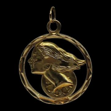Vintage 14K Yellow Gold Hermes Greek God charm