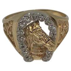 14K Yellow Gold Horseshoe Diamond Ring