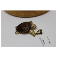 14K Yellow Gold Turtle w/ Wooden Shell