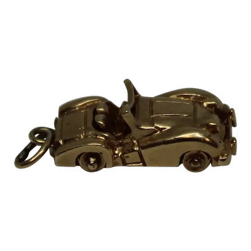 14K Yellow Gold Vintage Coupe Convertible Car Charm