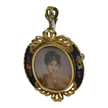 Victorian 18K Hand Painted Enamel Cameo