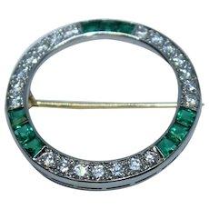 Antique TIFFANY & CO Diamond Emerald Palladium Circle Of Life Pin Brooch
