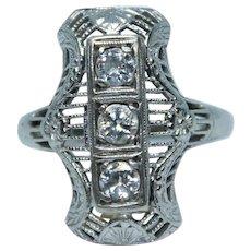 Vintage Art Deco 18K White Gold Filigree Diamond Ring - Flowers